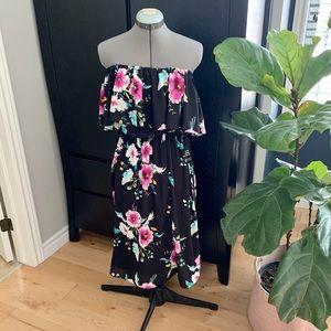 NWT Off Shoulder Floral Midi Dress Sz Sm